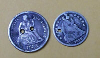 1882 SEATED LIBERTY SEATED SILVER DIME &1858-O HALF DIME  TYPE SET COIN HOLED OL