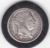 1816  SHARP  KING  GEORGE  III  STERLING  SILVER  SHILLING