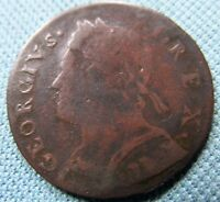 1733 KING GEORGE II BRITISH US COLONIAL HALFPENNY NON REGAL