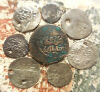 LOT OF 8 OTTOMAN SILVER AND BRONZE COINS LARGEST IS 18 MM.