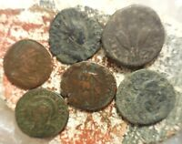 LOT OF 6 FINE TO VF ANCIENT ROMAN COINS INCLUDING A BROCKAGE ERROR TETRICUS II