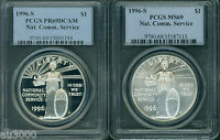 1996-S NCS NATIONAL COMMUNITY SERVICE SILVER PCGS MINT STATE 69 & PR69 PF69 2-COINS SET