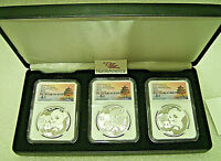 2019  S   Y   G  CHINA PANDA SILVER 3 MINT COIN SET  NGC MS70 FR TONG FANG SIG.