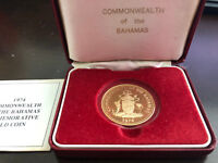1974 COMMONWEALTH OF THE BAHAMAS $100 GOLD PROOF COIN COA & BOX JA15033