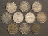 CANADA 1902 1906 10 CENTS SILVER   10 COINS MIXED DATES