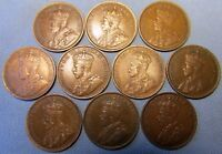 LOT OF 10 CANADA KING GEORGE V LARGE CENT 1911   1920 DATE R