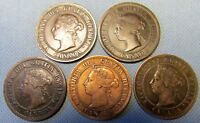 LOT 5 CANADA QUEEN VICTORIA LARGE CENT ONE CENT COINS 1888 1