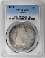 1795 $1 3 LEAVES FLOWING HAIR DOLLAR - PCGS EXTRA FINE 45