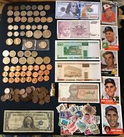 MIXED LOT JUNK DRAWER COLLECTIBLES STAMPS CARDS SILVER COINS