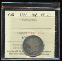 1858 CANADA 20 CENTS VICTORIAN SILVER COIN   ICCS VF 20