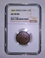 1804 SPIKED CHIN DRAPED BUST HALF CENT - NGC AU 50 BN BROWN