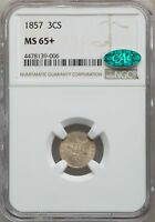 1857 US SILVER THREE CENT PIECE - NGC MINT STATE 65 - CAC