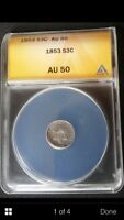 1853 3C THREE CENT SILVER ANACS CERTIFIED AU 50 A CERTIFIED UNCLEANED BEAUTY