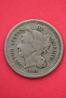 1865 THREE 3 CENT LIBERTY NICKEL EXACT COIN PICTURED FLAT RATE SHIPPING OCE0163