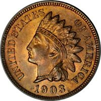 1903 1C INDIAN CENT PCGS MINT STATE 64RB PHOTO SEAL