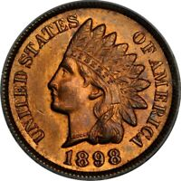 1898 1C INDIAN CENT PCGS MINT STATE 64RB