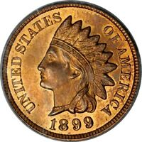1899 1C INDIAN CENT PCGS MINT STATE 64RB PHOTO SEAL