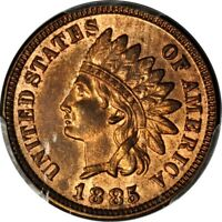 1885 1C INDIAN CENT PCGS MINT STATE 64RB PHOTO SEAL