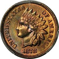 1878 1C INDIAN CENT PCGS MINT STATE 64RB PHOTO SEAL