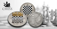 CHESS COIN :: NIUE 5$ 2018 SILVER AF 999. 2OZ 63MM WITH REAL