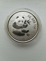 2000 CHINA SILVER PANDA .999 1OZ 10 YUAN FROSTED RING RARE D