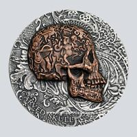 CARVED SKULL 1 OZ ULTRA HIGH RELIEF SILVER COIN ANTIQUED CAM
