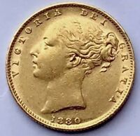 1880 GOLD SOVEREIGN SYDNEY SHIELD  S  22 CARAT GOLD FULL SOV