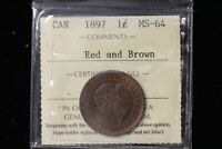 1897 CANADA. LARGE CENT. ICCS GRADED MS 64 R&B.  XTH928 .