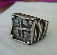 GENUINE 1/2 REALES SILVER SPANISH TREASURE COB COIN STERLING JEWELRY RING SZ 9