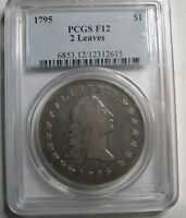 1795 FLOWING HAIR DOLLAR 2 LEAF  PCGS F12. RICH ORIGINAL GUNMETAL GREY SURFACES