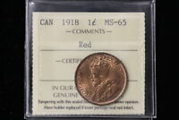 1918 CANADA. LARGE CENT. ICCS GRADED MS 65 RED.  XRZ705