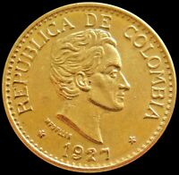 1927 GOLD COLOMBIA 5 PESOS 7.9881 GRAMS COIN MEDELLIN MINT H