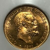 1901 SWEDEN 10 GOLD KRONOR NGC MS 65 BEAUTIFUL COIN