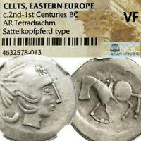 CELTIC GREEK TETRADRACHM ANCIENT COIN ZEUS / HORSE NGC VF PHILIP II MACEDON TYPE