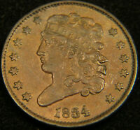 1834 CLASSIC HEAD HALF CENT CHOICE AU ALMOST UNCIRCULATED LOW MINTAGE  316296EB