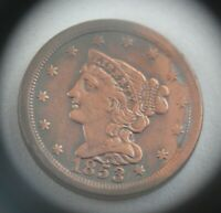 1853 PHILADELPHIA MINT COPPER BRAIDED HAIR HALF CENT