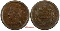 US COPPER 1852 BRAIDED HAIR LARGE CENT 1C EX.LUX FAMILY COLLECTION
