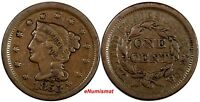 US COPPER 1853 BRAIDED HAIR LARGE CENT 1C EX.LUX FAMILY COLLECTION