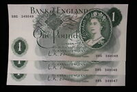 ND BANK OF ENGLAND. ONE POUND. 3 X BANKNOTES IN SERIES.