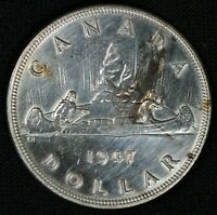 1947 CANADA $1 SILVER DOLLAR   CLEANED   COLLECTOR GRADE   S