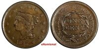 US COPPER 1843 BRAIDED HAIR LARGE CENT 1C  DETAILS