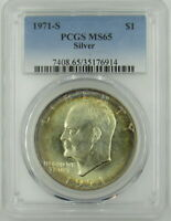 1971-S SILVER  UNCIRCULATED EISENHOWER DOLLAR PCGS MINT STATE 65 - TONED