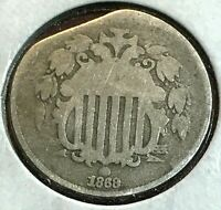 1868 SHIELD NICKEL G 5 STRAIGHT CLIP ERROR CHN