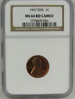 1967 SMS LINCOLN CENT NGC MINT STATE 66RD CAMEO