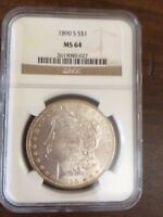 1890-S MORGAN SILVER DOLLAR  - NGC MINT STATE 64