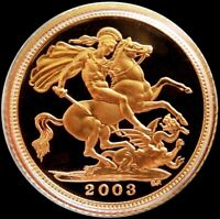 2003 GOLD GREAT BRITAIN PROOF 1/2 SOVEREIGN 3.99 GRAMS COIN