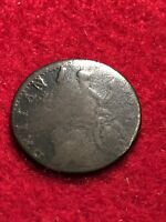 BRITISH COPPER EVASION HALFPENNY 1770SBROCKAGE ERROR