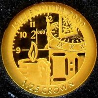 1999 GOLD GIBRALTAR MILLENNIUM PROOF 1/25 CROWN CANDLE & CLO