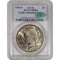 1934-S US PEACE SILVER DOLLAR $1 - PCGS MINT STATE 64 VAM 3 DOUBLED TIARA TOP 50 CAC