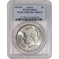 1934-D US PEACE SILVER DOLLAR $1 - PCGS MINT STATE 64 VAM 3 DD OBVERSE MED D TOP 50